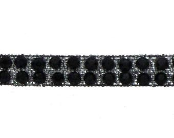 Stripe black Thermo rhinestones by the yard