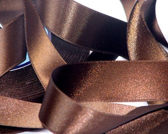 By the yard chocolate brown satin ribbon