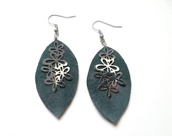 Earrings dark green leather light and timeless