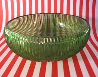 Vintage Ribbed E. O. Brody Green Glass Bowl Made in U.S.A. 1960's