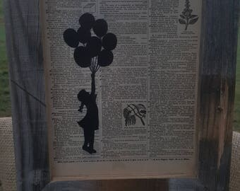 "Original Vintage Dictionary Art ""Balloons"""