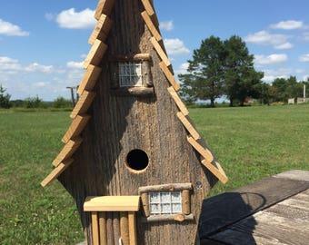 Barnwood Cottage Birdhouse/ functional birdhouse
