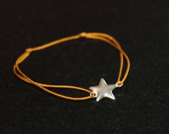 Yellow mustard star 925 sterling silver bracelet