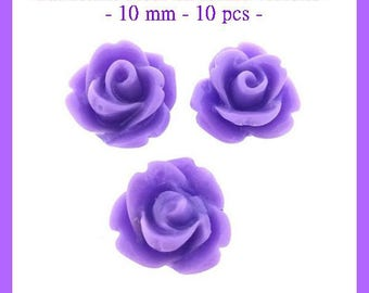 Resin cabochon flower purple - 10 mm - 10 pcs - new