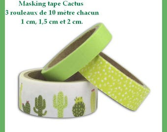 Washi tape - Cactus - 3 reels - width: 1 cm, 1.5 cm and 2 cm by 10 m in length.