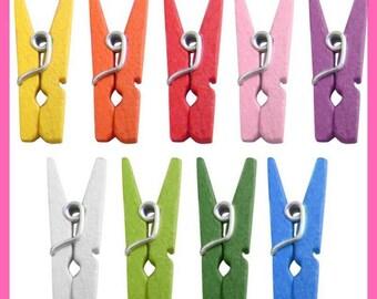 Clothespin wooden 35 mm - multicolor assortment - 25 pcs - MINI clips