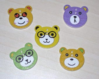 "Set of 5 """"multicolored 2cm Teddy bear wooden buttons"