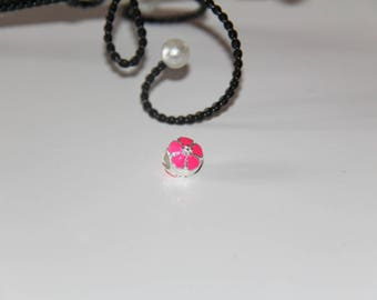 """The round bead with pink enamel flower silver jewelry """"Pandora"""" type"""
