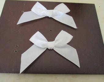 set of 2 white satin bows