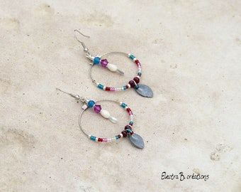 Hoop earrings Bohemian chic silver Leafs and multicolor beads