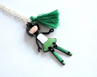 Enameled charm girly and green tassel necklace