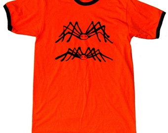 Sleeve orange t-shirt short with spiders