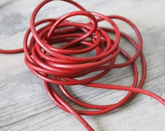 2 m 50 red round leather cord