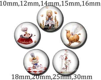 5pcs Y212 Cabochons manual diameter of 10mm 12mm 14mm 15mm 16mm 18mm 20mm 25mm 30mm Alice to the land of Wonderland, Alice in Wonderland Rovers