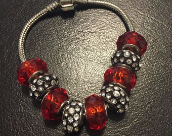 Pandora style bracelet in red and silver