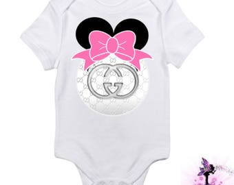 Gucci Minnie Mouse with Pink Bow | Baby Onesie | Babyshower Gift | First Birthday Outfit | Disney | Baby Clothes | Designer Inspired