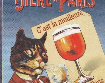 COCK87 beer DE PARIS pattern 4 X 1 paper cocktail napkin