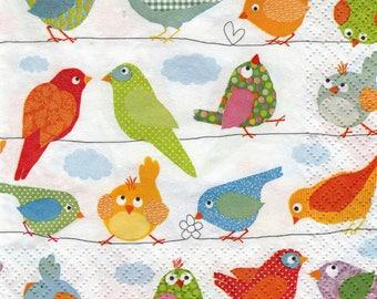 052 LES birds MULTICOLOR pattern X 4 paper towel