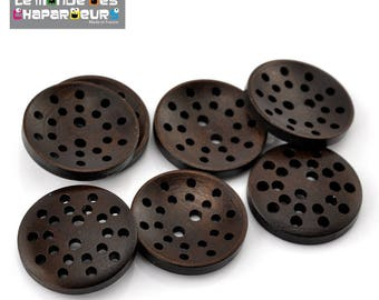 Set of 5 buttons 25 mm 2 holes round dark brown wood with decorative holes