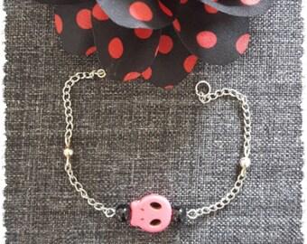 Skull Rose pearl bracelet silver