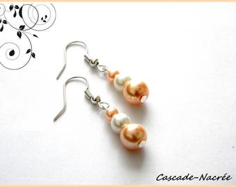 salmon white bridal wedding Pearl Earrings Pearl
