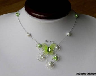 Necklace children Butterfly Green White Pearl bridal wedding maid of honor