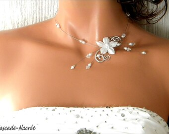 Janelle White Pearl bridal aluminum silver swarovski crystal flower bridal necklace