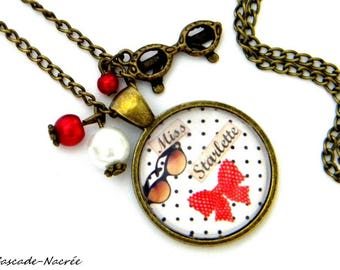 Miss red starlet photo bronze glass dome cabochon necklace