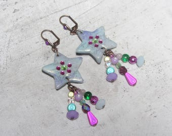 Green star Filante of water in polymer clay fimo polymer clay fimo rhinestone Crystal Diamante earrings