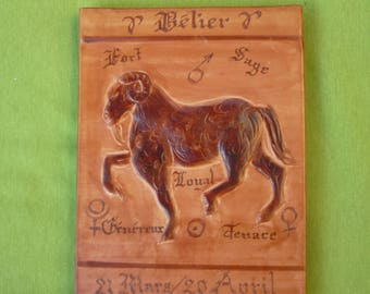 """Zodiac sign """"Aries"""" leather embossed, glued on wood"""