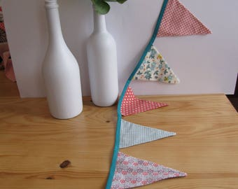 Multicolored Bunting in shades of pink and blue