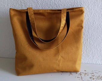 Large mustard yellow woven tote bag
