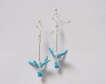 Blue ombre paper crane origami earrings.