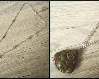 """Unakite Buddha"" necklace with gemstones"