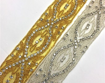 "1 1/2""  Crystal Beaded rhinestone trim Gold-Silver #QRGY6025"
