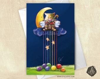 Card greeting kitten Moon and Rainbow balls Illustration