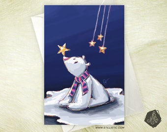 Christmas new year fleece, Star and ice bear greeting card