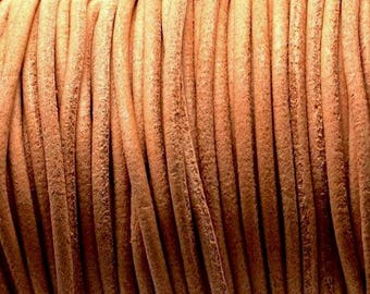 Cord of round leather 1st quality - Made in EU - 2.5 mm - natural - 50 cm