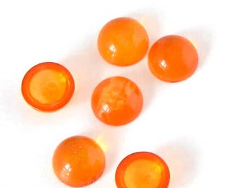 Resin cabochon - round shaped (7.2 mm) - Orange - CABSY716ORA817