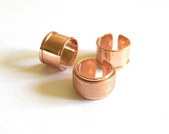 Ring ring brass open adjustable (14-24mm) - to decorate - Rose Gold