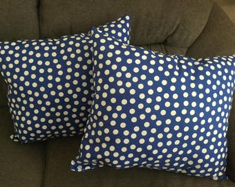Blue and White Polkadot pillow