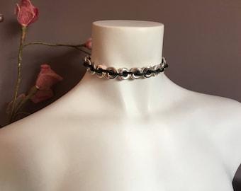 "Boho choker ""encadenada"", choker necklace, leather choker necklace"