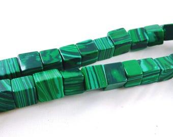 Silver natural Malachite beads
