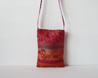 Cell phone bag, multicolored red cloth, handmade bags, mobile phone strap, mobile phone, gift idea, elegant handbags