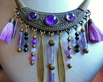 large ethnic pendant in bronze and Amethyst.