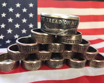 State Quarter Coin Rings