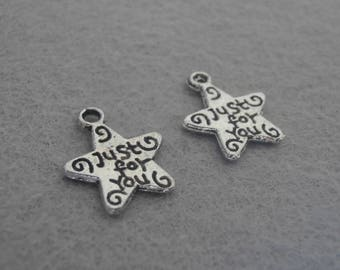 Set of two charms silver metal star