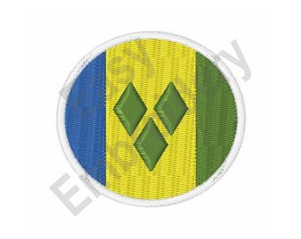 Saint Vincent And The Grenadines Flag - Machine Embroidery Design