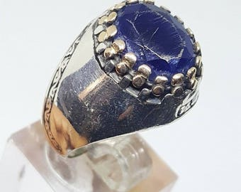 nice handmade 925 sterling silver men ring blue sapphire ruby stone -mens jewelry