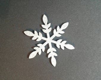 5 silver glitter wooden snowflakes - card making, papercrafting, scrapbooking - Christmas, Xmas, winter, snow, wooden shapes